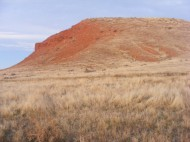 Monument Hill in Hot Springs State Park adjacent to Thermopolis, Wyoming, in the morning alpenglow