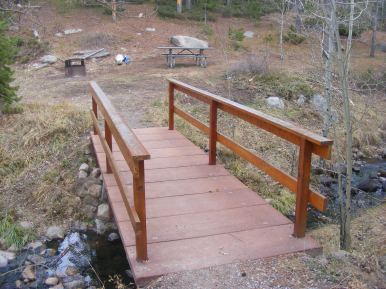 A small bridge leading to my campsite at Cottonwood Campground