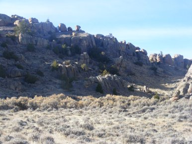 Boulders perched on a ridge line in the Granite Mountains of Wyoming