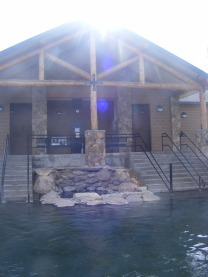 The bathhouse at Hobo Hot Springs in Saratoga, Wyoming