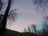 Rosy sky at dusk in the Encampment River Campground