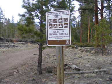 Signage for Duck Pond Road 784.1A, on the Rio Grande National Forest