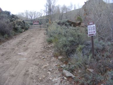 Bureau of Land Management Road 3054 on Pole Creek, at the seasonal closure gate