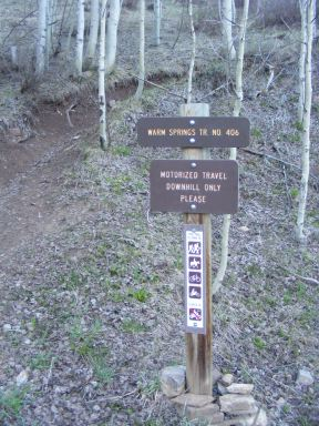 The Cement Creek terminus of the Warm Springs Trail No. 406