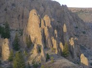 Evening sunlight striking the Dillon Pinnacles