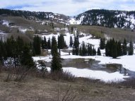 "Mid-May, Huntsman Ridge in snow, on Drift Creek near the ""lake"""