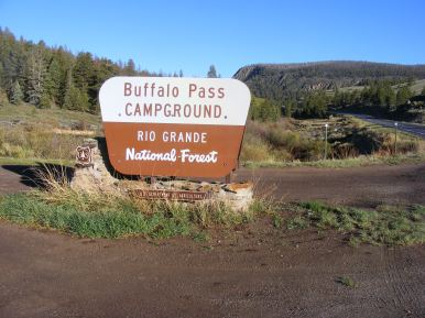 Along Colorado 114, the sign for Buffalo Pass Campground, just east of North Pass