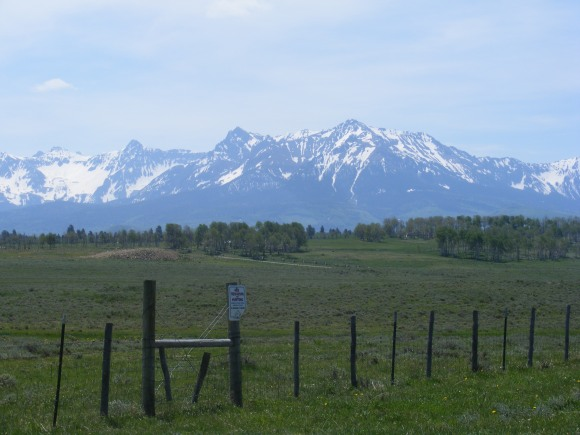 Looking at Mount Sneffels and vicinity, from Dave Wood Road