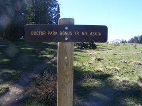 Signage for the Doctor Park Bonus Trail No. 424.1A, the extent of my travels