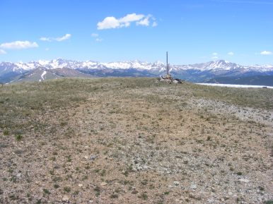 The summit of Cement Creek, looking at the Elk Mountains