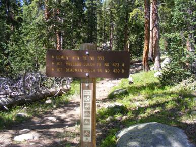 Signage for the Cement Mountain Trail No. 553 at the end of the Rarick Gulch Road