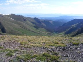 Looking into the headwaters of Stewart Creek, the Cochetopa hills beyond while the Swatch Range dominates the horizon