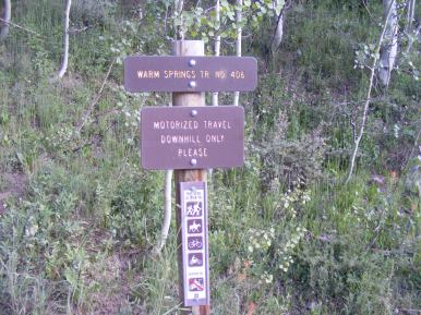 Signage for the Warm Springs Trail No. 406 just off the Cement Creek Road