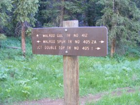 Signage for the upper end of the Walrod Gulch Trail No. 412