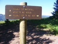 Signage for the upper end of the Double Top Waterfall Trail No. 405.3A