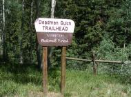 Signage for the Deadman Gulch Trailhead on Cement Creek