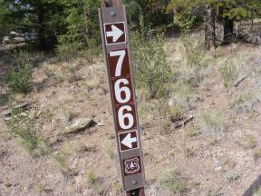 Signage for the Indian Creek Trail No. 766 on the Rio Grande National Forest
