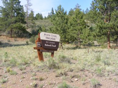 Signage for the Middle Creek Trailhead on the Rio Grande National Forest