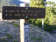 Trailhead signage for the Agate Creek Spur Trail No. 484.2A on the Gunnison National Forest