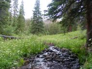 The stream of water that drains Boulder Lake