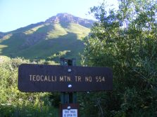 At road's end on West Brush Creek, the start of the Teocalli Mountain Trail No. 554 on the Gunnison National Forest