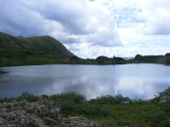 Clouds reflected in the lower Twin Lakes