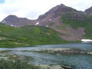 The upper Twin Lakes in the Elk Mountain of Colorado, part of the Maroon Bells-Snowmass Wilderness