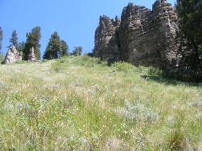 On the north, warm side of Little Mill Creek: open grassy slopes pockmarked by outcroppings of West Elk breccia