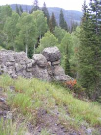 An outcropping of West Elk breccia on Curecanti Creek