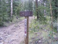 Signage for the Camp Trail No. 476 on the Gunnison National Forest