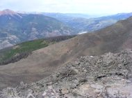From the top of the Camp Trail No. 476, Lake San Cristobal barely visible and below that the continuation of the Lake Fork of the Gunnison River