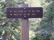 Signage for the junction of the Big Bend Creek Trail No. 488 and the Milk Creek Trail No. 474