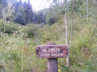 Signage for GV Creek along the Three Forks Trail No. 2150; Irish Gulch is actually about three-quarters of a mile upstream on GV Creek