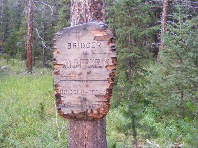 The boundary of the Bridger Wilderness on the Bridger-Teton National Forest