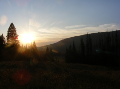 Sunset as seen from the Roaring Fork Basin