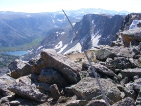 The summit of Three Waters Mountain; looking down into Jakey's Fork