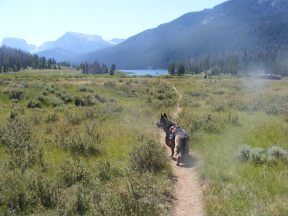 Leah approaching the Green River Lakes on the Bridger-Teton National Forest Trail No. 94