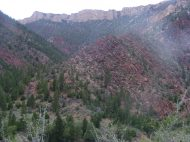 Looking over Sheep Creek, I particularly enjoy the red sandstone, pushed upwards by the formation of the Uinta Mountains