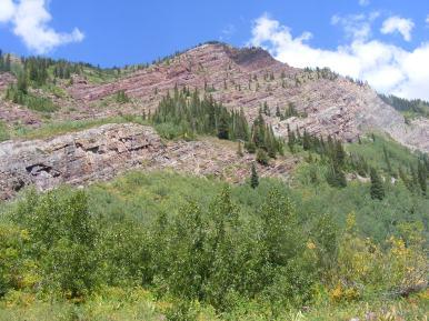 Tilted strata above Copper Creek