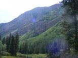 Looking down Copper Creek, aspen verdant