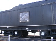 The tender of a defunct steam locomotive, located in Leadville, Colorado