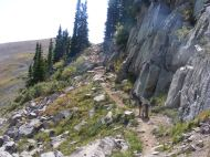 Leah on a narrow section of the South Quartz Trail No. 483