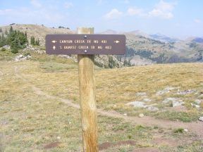 Signage for the junction of the South Quartz Trail No. 483 and Canyon Creek Trail No. 481