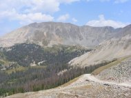 Looking north from Tomichi Pass into Brittle Silver Basin; Point 13102 is the highpoint in view