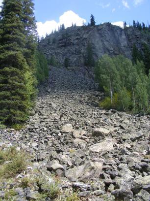 Talus slide in Comanche Gulch