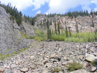 Near road's end in Comanche Gulch