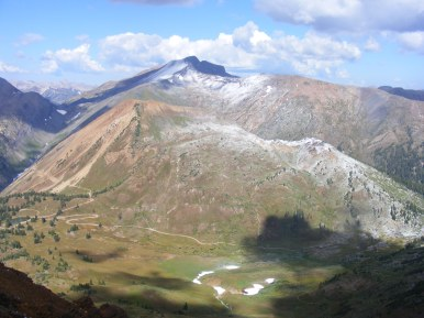 Looking west from the triple divide into Paradise Basin