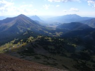 Looking south from the triple divide, Gothic Mountain on the left, Mount Crested Butte just to the right and on the far right Whetstone Mountain