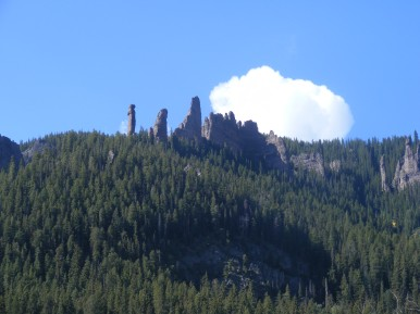 Cloud hovering above hoodoos on the south side of Mill Creek