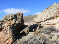 The sandstone outcropping on BLM Road 3107